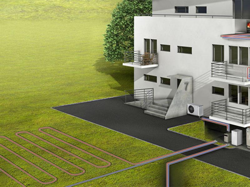 illustration af hvordan jordvarme virker til opvarmning af et hus