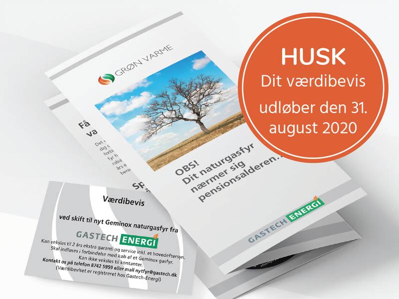 Værdibevis til nyt effektivt gasfyr. Husk værdibeviset udløber 31. August 2020.